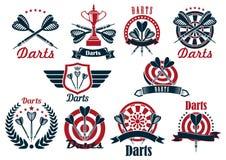 Símbolos e iconos del torneo del juego de los dardos ilustración del vector