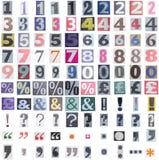 Símbolos e números do jornal Fotografia de Stock