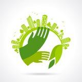 Símbolos e sinais ecológicos, mãos do ser humano e plantas crescentes verdes Imagens de Stock