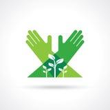 Símbolos e sinais ecológicos, mãos do ser humano e plantas crescentes verdes Fotografia de Stock Royalty Free