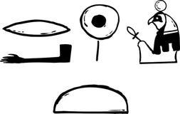 Símbolos egípcios antigos esboçados Imagens de Stock