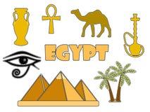Símbolos egípcios isolados no fundo branco Crachás egípcios Foto de Stock Royalty Free