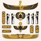 Símbolos egipcios antiguos y decoraciones ilustración del vector