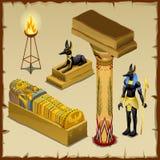 Símbolos egipcios de la civilización antigua, sistema grande stock de ilustración