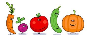 Símbolos engraçados dos vegetais dos desenhos animados. ilustração stock