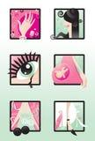 Símbolos esenciales de ser una mujer Imagenes de archivo
