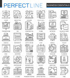Símbolos esenciales del concepto del esquema del negocio Línea fina perfecta iconos de la gestión de estrategia Estilo linear del libre illustration