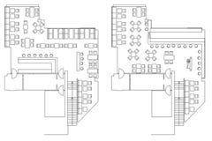 Símbolos estándar de los muebles del café en planes de piso ilustración del vector