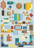 Símbolos estándar de los muebles usados en arquitectura ilustración del vector