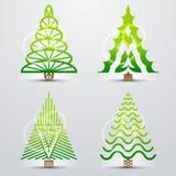 Símbolos estilizados da árvore de Natal Fotografia de Stock Royalty Free