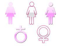 Símbolos femeninos Fotos de archivo libres de regalías