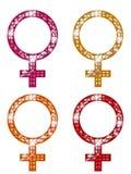 Símbolos FEMENINOS que brillan Imagenes de archivo