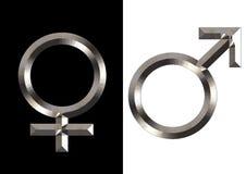 Símbolos femeninos y masculinos Fotos de archivo libres de regalías