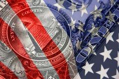 Símbolos financeiros vermelhos, brancos, e azuis Foto de Stock