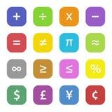Símbolos financieros de la matemáticas Imágenes de archivo libres de regalías