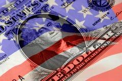 Símbolos financieros rojos, blancos, y azules Fotos de archivo