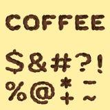 Símbolos hechos del café en diseño plano stock de ilustración