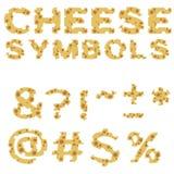 Símbolos hechos del queso en diseño plano Fotos de archivo