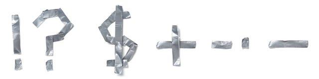 Símbolos hechos fuera de la cinta Imagenes de archivo