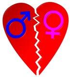 Símbolos hembra-varón del corazón quebrado Imagenes de archivo