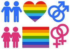 Símbolos homosexuales y de la lesbiana Fotografía de archivo libre de regalías