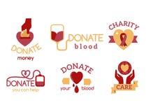 Símbolos humanitários ajustados do apoio do auxílio da esperança da mão da conscientização do vetor vermelho voluntário da doação ilustração stock