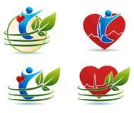Símbolos humanos dos cuidados médicos, conceito saudável do coração ilustração do vetor