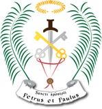 Símbolos iconográficos para San Pedro y San Pablo con llaves y la espada Imagen de archivo libre de regalías