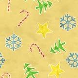 Símbolos inconsútiles de la Navidad del modelo en el papel viejo Imagen de archivo