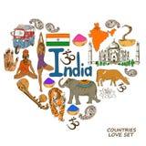 Símbolos indianos no conceito da forma do coração Fotos de Stock Royalty Free