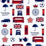 Símbolos ingleses: taxi, caja del poste, teléfono, tetera y taza, Decker Bus doble, lámpara stock de ilustración
