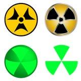 Símbolos isolados da ilustração do vetor da radiação Foto de Stock Royalty Free