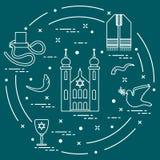 Símbolos judíos: tfillin, sinagoga, el cuerno de la oveja stock de ilustración