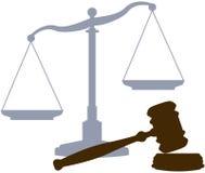 Símbolos legales del sistema judicial de la justicia del mazo de las escalas Imagenes de archivo