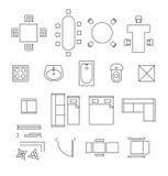 Símbolos lineares del vector de los muebles Iconos del plan de piso stock de ilustración