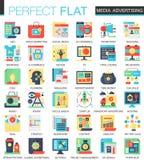 Símbolos lisos complexos do conceito do ícone do vetor da campanha publicitária nos meios de comunicação para o projeto infograph ilustração royalty free