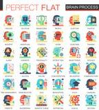 Símbolos lisos complexos do conceito do ícone do vetor do processo da individualidade da mente do cérebro para o projeto infograp ilustração stock