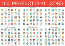 180 símbolos lisos complexos do conceito dos ícones do vetor da escola, artigos de papelaria, educação, aprendendo em linha, proc ilustração do vetor