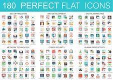 180 símbolos lisos complexos do conceito dos ícones do vetor da otimização do seo, desenvolvimento da Web, mercado digital, rede ilustração royalty free
