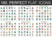 180 símbolos lisos complexos do conceito dos ícones do vetor do processo criativo, tecnologia de rede, desenvolvimento da Web, jo ilustração stock