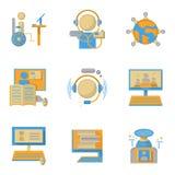 Símbolos lisos do estilo para a educação em linha Imagem de Stock
