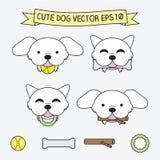 Símbolos lisos do logotipo do ícone bonito da ilustração do vetor do cão Imagens de Stock Royalty Free