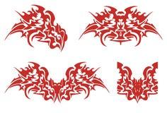Símbolos llameantes de la cabeza del dragón Foto de archivo libre de regalías