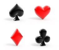 Símbolos lustrosos de cartões de jogo Imagens de Stock