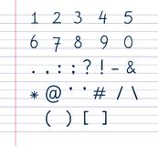 Símbolos manuscritos del texto en el papel alineado Imagen de archivo