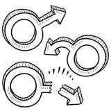 Símbolos masculinos do género da deficiência orgânica Fotos de Stock