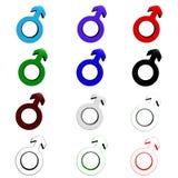 Símbolos masculinos do gênero Fotos de Stock