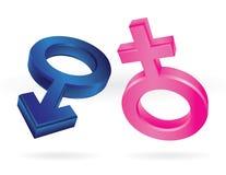 Símbolos masculinos e fêmeas Fotografia de Stock