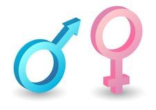 Símbolos masculinos e fêmeas Foto de Stock Royalty Free