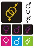 Símbolos masculinos e fêmeas fotografia de stock royalty free